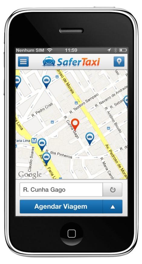 O aplicativo para localização e chamada de corrida de táxi